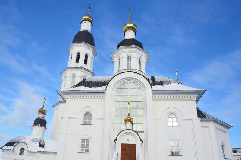 Igreja da suposição da mãe da igreja de Uspenskaya do deus em Arkhangelsk na rua de Loginov, Rússia imagens de stock royalty free