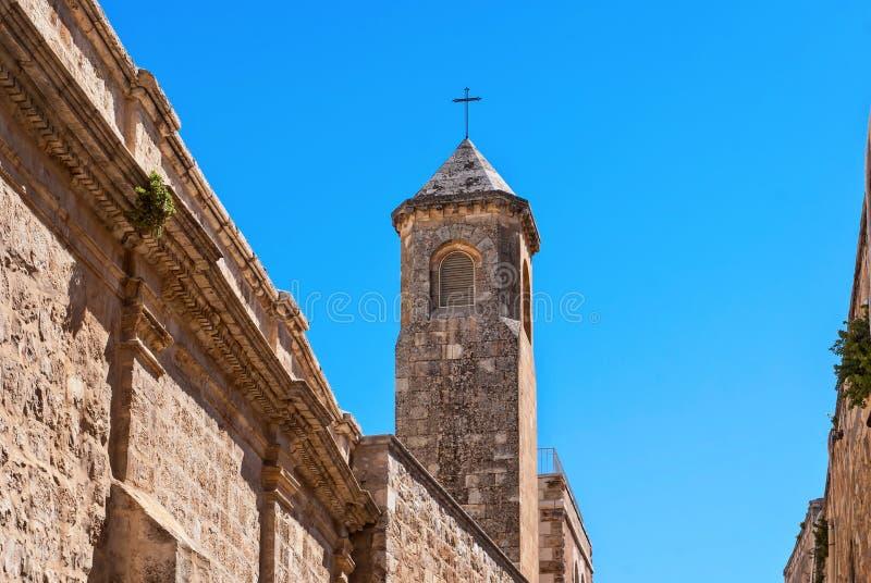 Igreja da torre da flagelação, estação II sobre através de Dolorosa, cidade velha do Jerusalém fotografia de stock