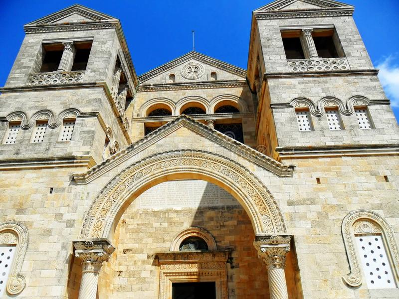 Igreja da transfiguração na montagem Tabor em Israel imagem de stock royalty free