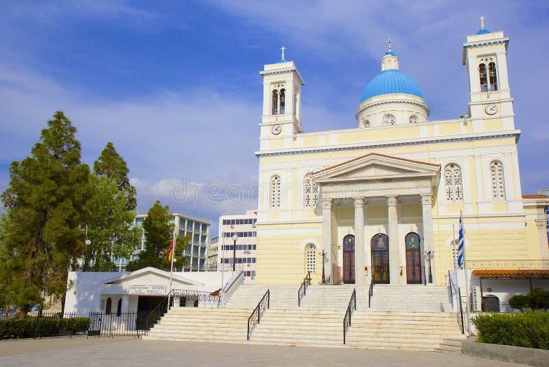 Igreja de Agios Nikolaos em Piraeus, Grécia foto de stock