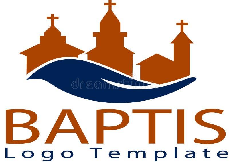 Igreja de Baptis e molde do logotipo ilustração royalty free