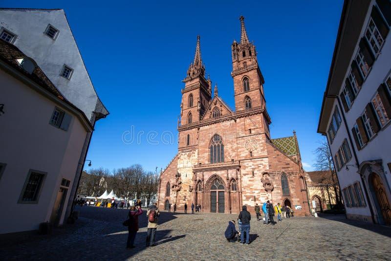 Igreja de Basileia no centro de cidade histórico imagem de stock royalty free