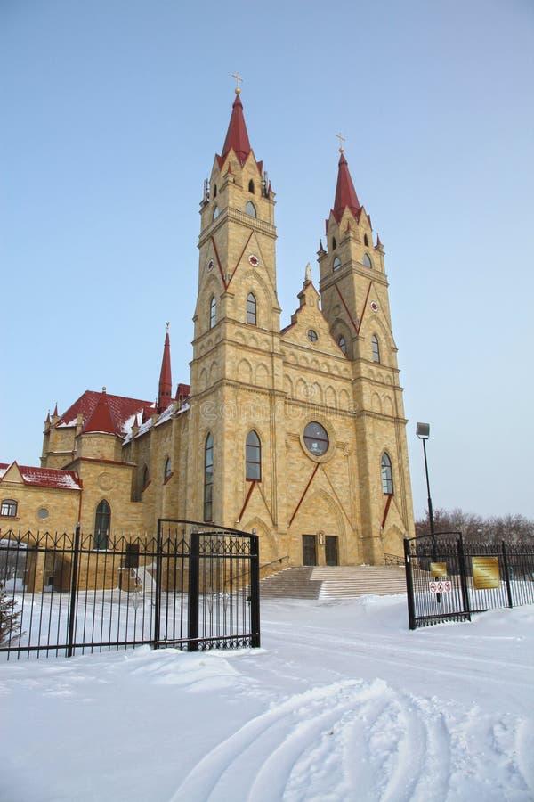Igreja de Catolic em Karaganda, Cazaquistão fotos de stock royalty free