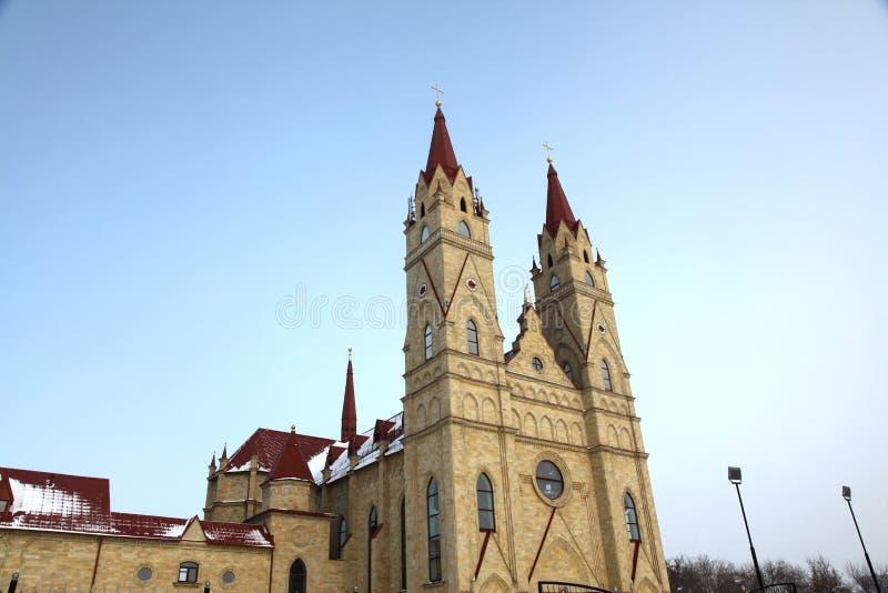 Igreja de Catolic em Karaganda, Cazaquistão fotografia de stock
