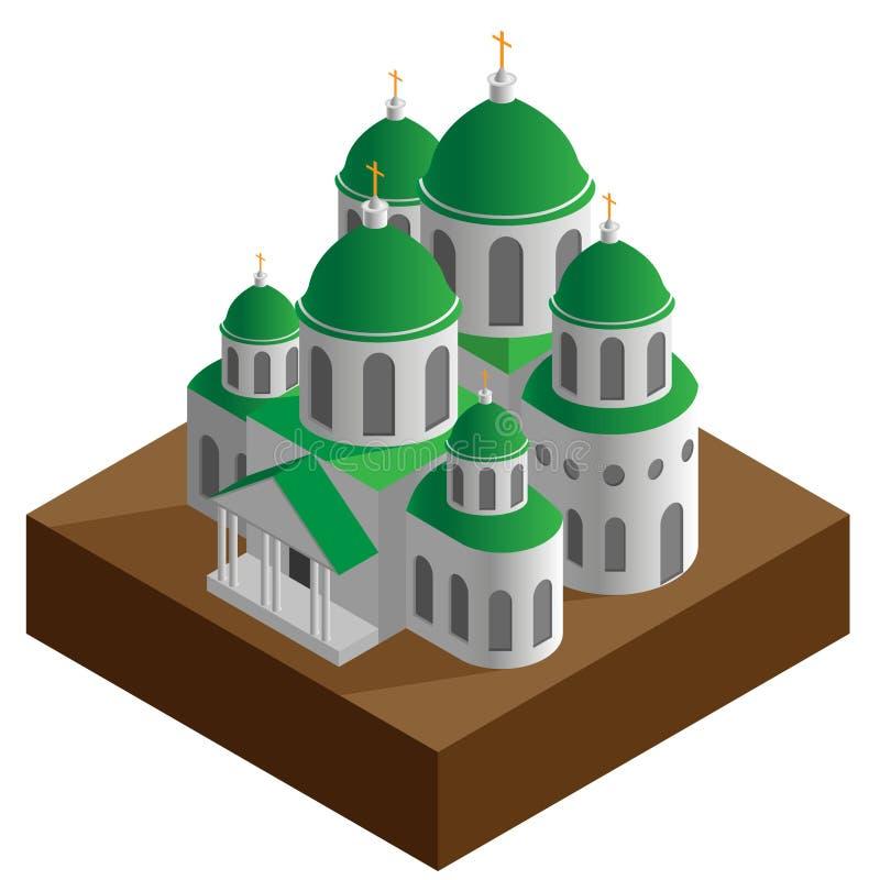 Igreja de Christian Orthodox com diversos isométricos das abóbadas isolada ilustração stock