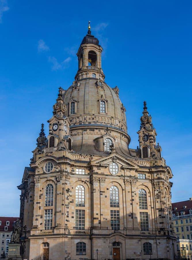 Igreja de Frauenkirche da igreja do Virgin em Dresden, uma das igrejas luteranas as mais significativas da cidade fotografia de stock