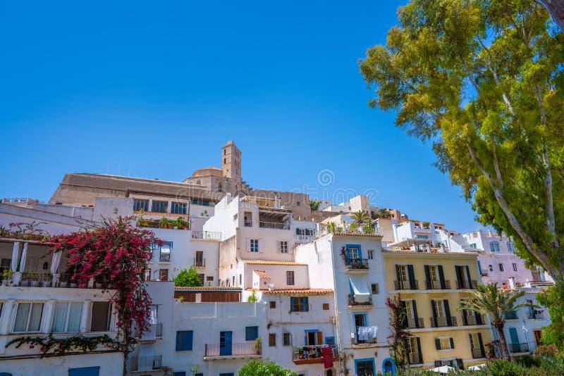 Igreja de Ibiza Eivissa em Dalt Vila de Balearics imagens de stock