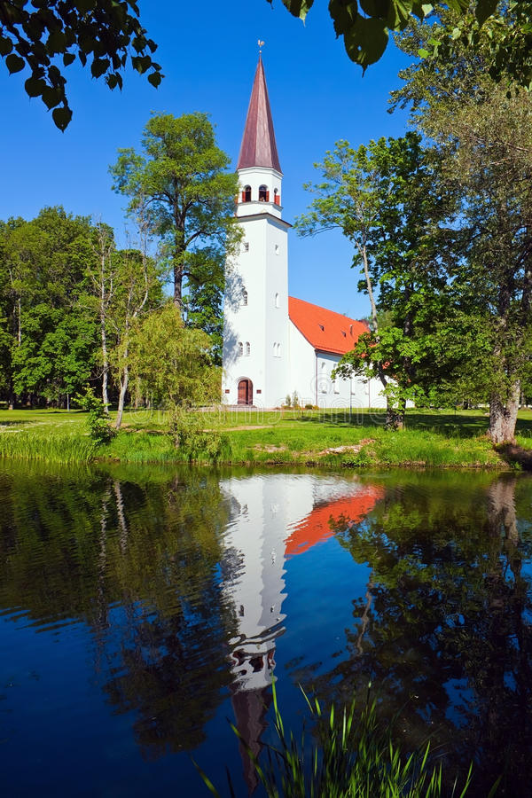 Igreja de Lutheran de Sigulda fotografia de stock
