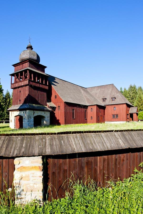 Igreja de madeira da cruz santamente fotografia de stock royalty free