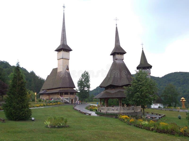A igreja de madeira de Botiza fotos de stock