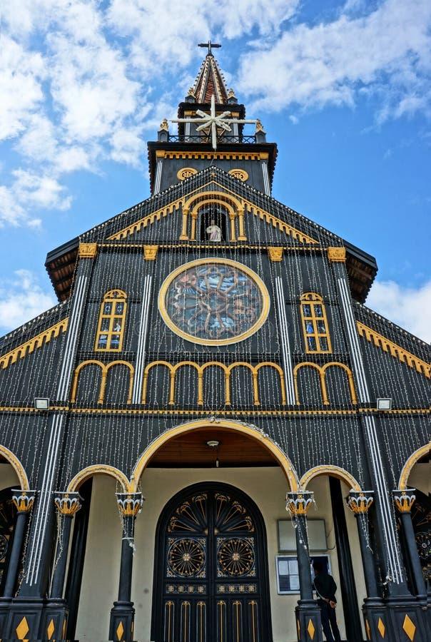 Igreja de madeira de Kontum, catedral antiga, herança imagem de stock royalty free