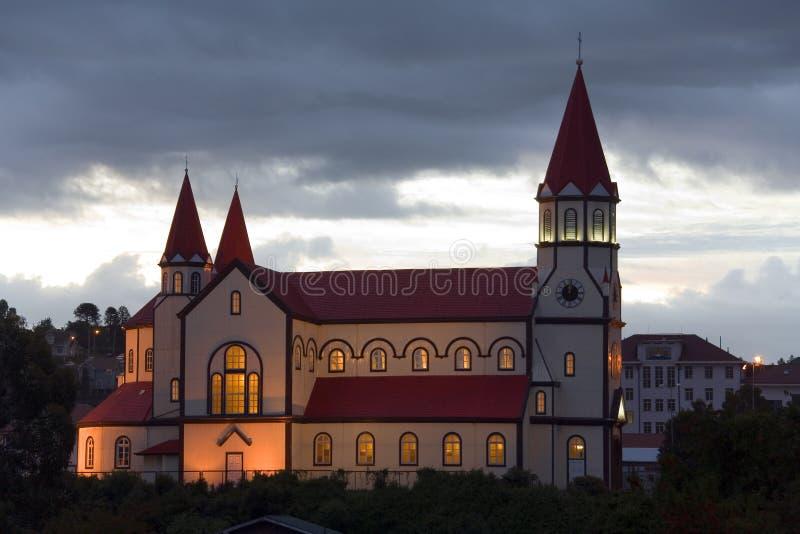 Igreja de madeira em Puerto Montt fotos de stock royalty free