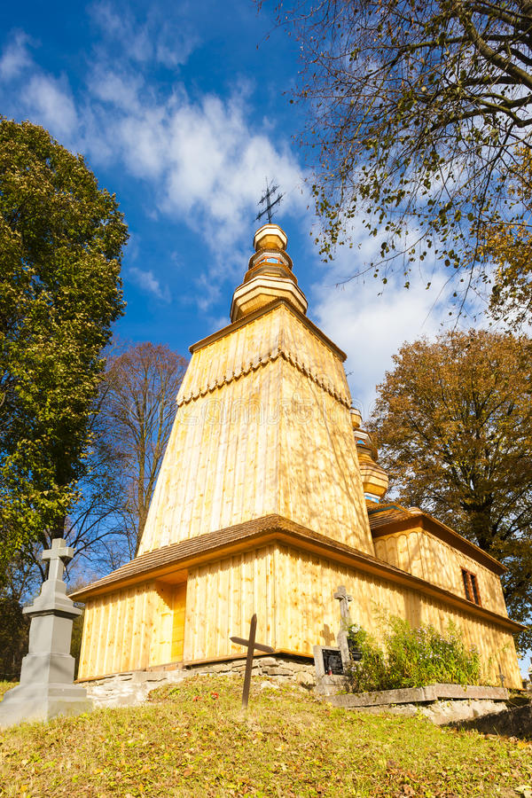 Igreja de madeira, Hunkovce fotografia de stock