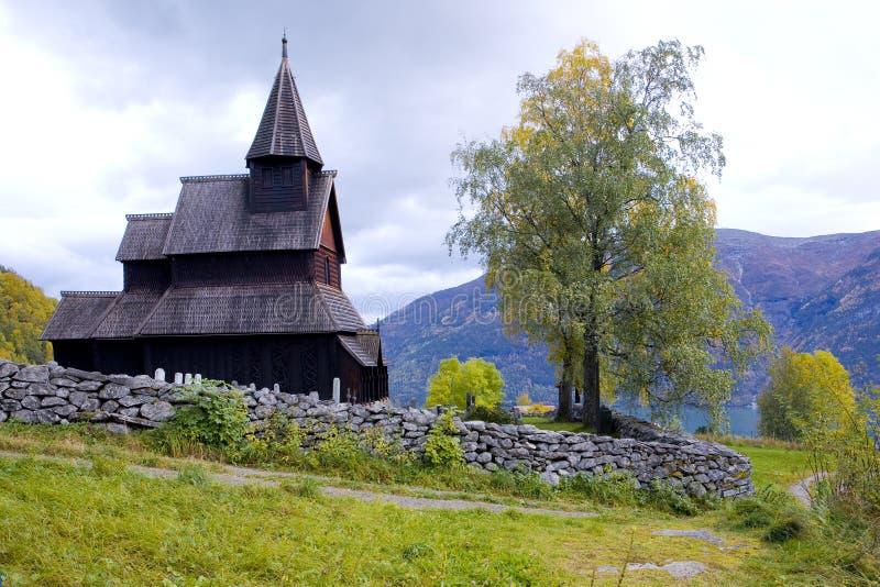 Igreja de madeira, Noruega imagens de stock