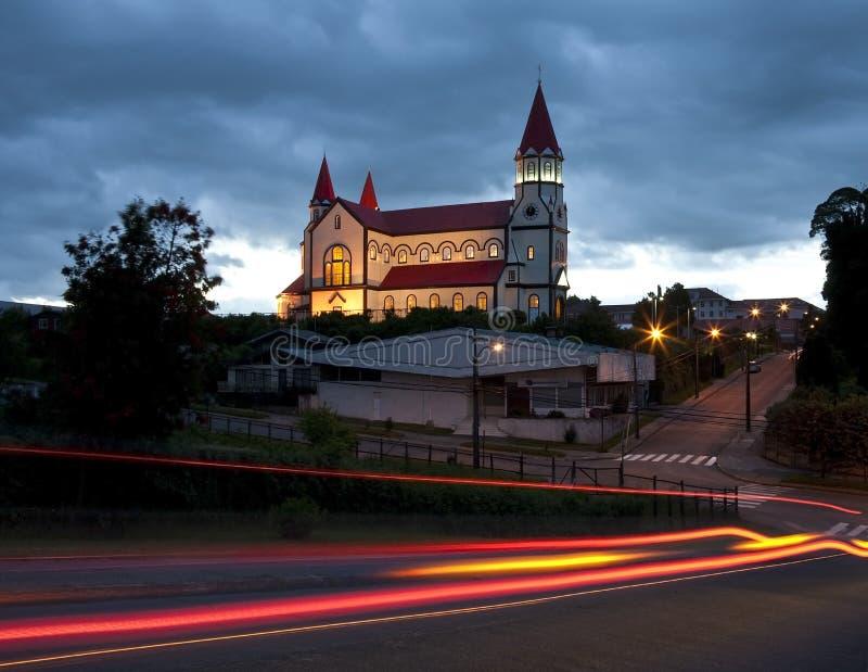 Igreja de madeira - Puerto Varas - Chile foto de stock