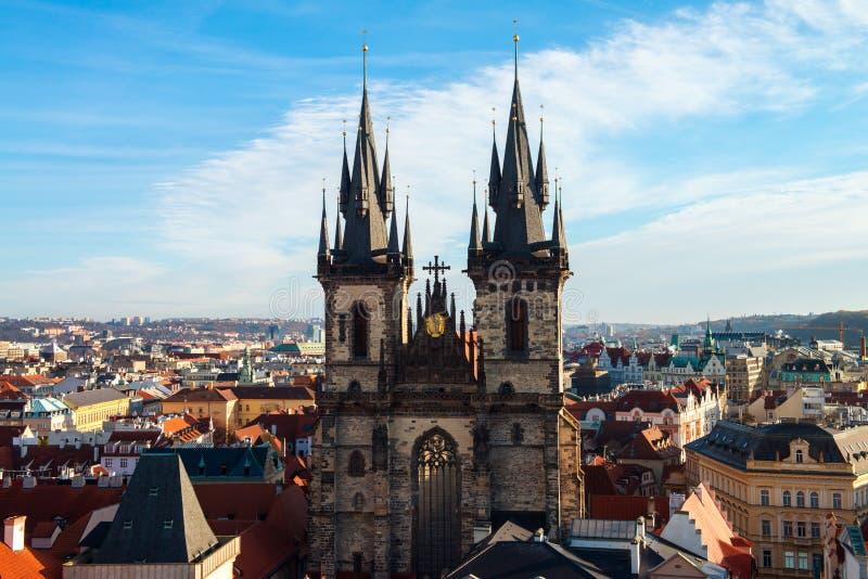 Igreja de nossa senhora antes de Týn Praga, República Checa fotos de stock
