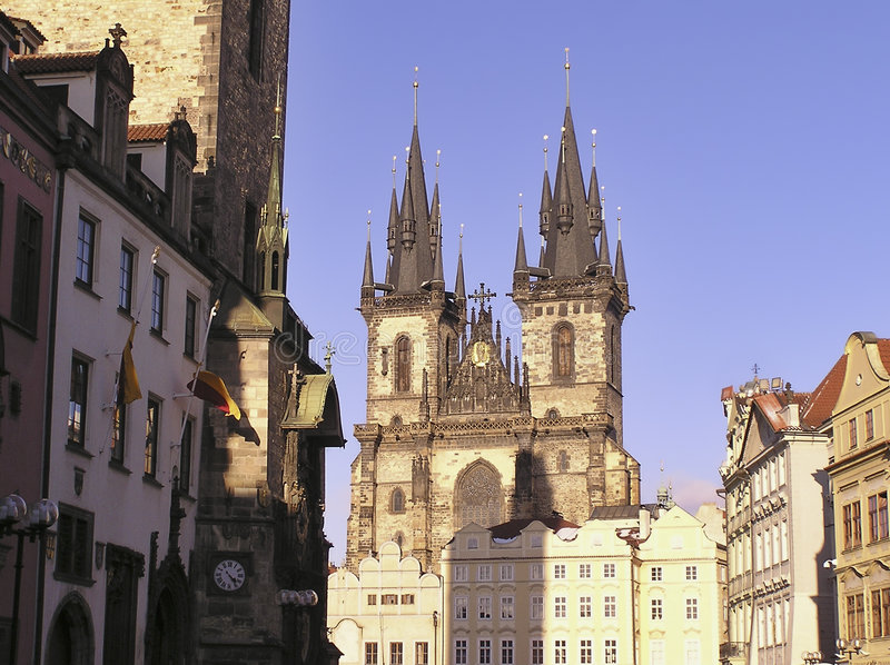 Igreja de nossa senhora Antes Tyn, Praga foto de stock