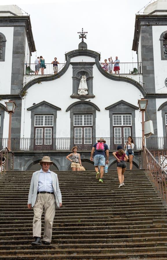 Igreja DE Nossa Senhora doet Monte Church Our Lady van het Onderstel in Monte dichtbij Funchal op het Portugese Eiland Madera royalty-vrije stock fotografie