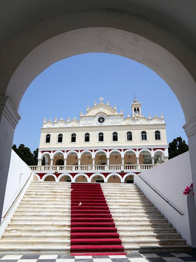 Igreja de Panayia Evangelistria em Tinos foto de stock royalty free
