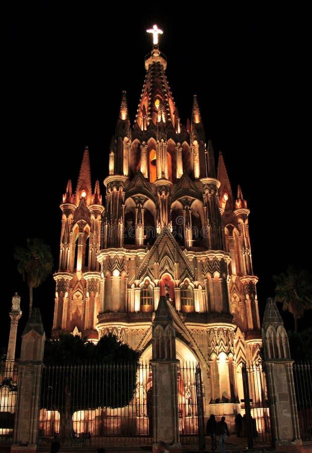 A igreja de Parroquia, San Miguel de Allende, Guanajuato, México imagem de stock