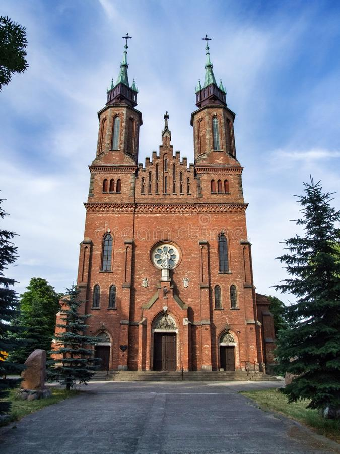 Igreja de Saint Bartholomew e santo Andrew Apostles em Ocieck, Polônia ilustração stock