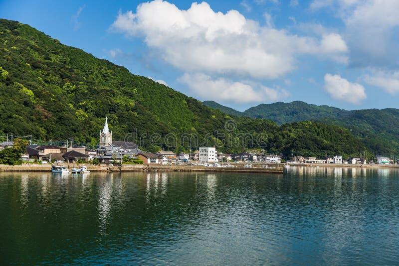 Igreja de Sakitsu e céu azul em Amakusa, Kyushu, Japão foto de stock royalty free