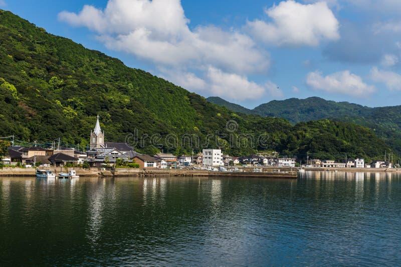 Igreja de Sakitsu e céu azul em Amakusa, Kyushu, Japão fotografia de stock