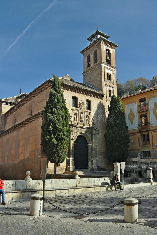 Igreja de San Gil e de Santa Ana de Granada imagens de stock