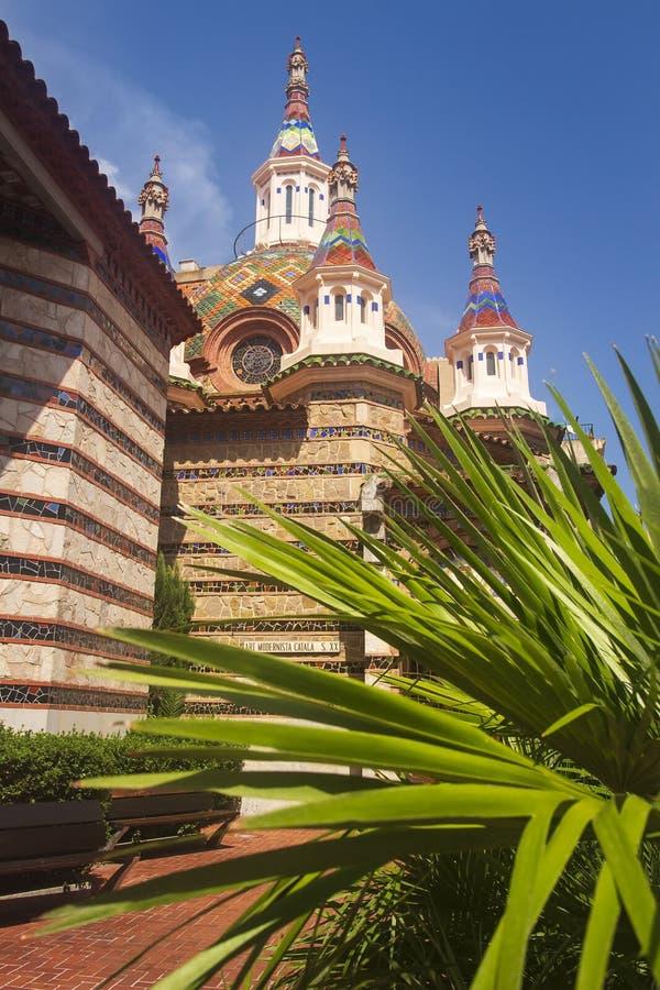 Igreja de San Roma em Lloret de Mar Igreja paroquial Sant Roma no centro de cidade de Lloret de Mar Costa Brava, Catalonia, Espan fotografia de stock