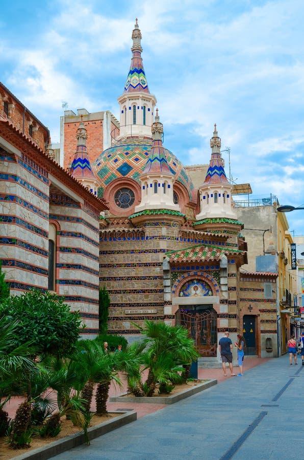 Igreja de Sant Roma, Lloret de Mar, Costa Brava, Espanha fotografia de stock