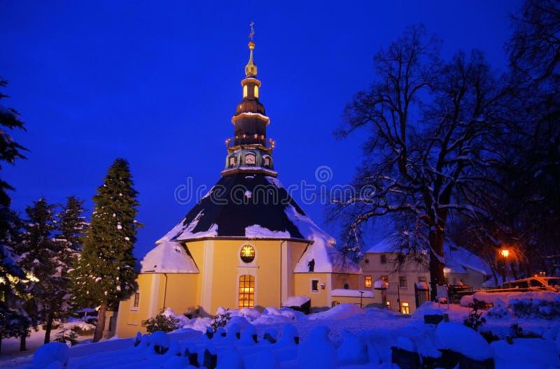 Igreja de Seiffen no inverno fotografia de stock