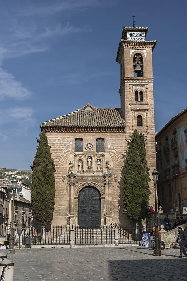 Igreja de St. Ana e de St. Gil. Igreja Mudejar, Granada, Andalusi imagem de stock