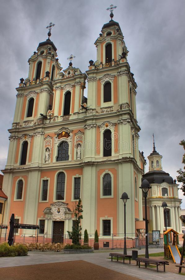 Igreja de St Catherine em Vilnius imagem de stock