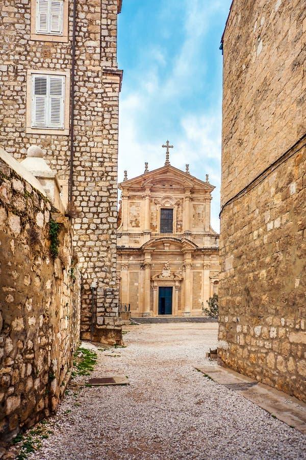 Igreja de St Ignatius na cidade velha de Dubrovnik imagens de stock royalty free