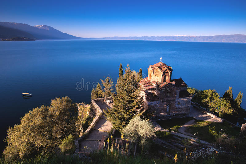 Igreja de St.Jovan Kaneo no lago Ohrid, imagem de stock royalty free