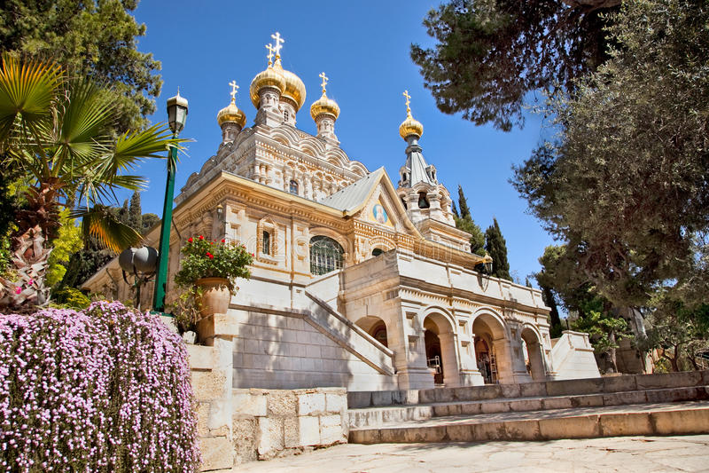Igreja de St.MaryMagdalene em Jerusalem imagens de stock royalty free