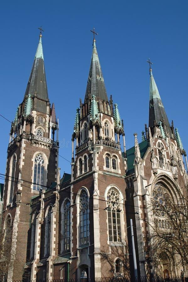 A igreja de St. Olha e Elizabeth em Lviv imagens de stock royalty free
