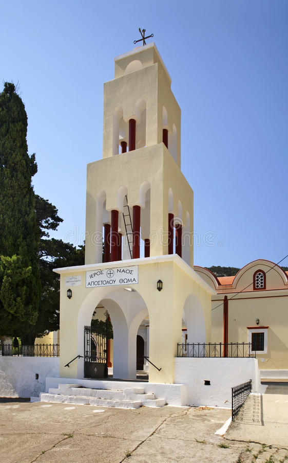 Igreja de St Thomas Apostle na vila de Monolithos Ilha do Rodes Greece imagem de stock