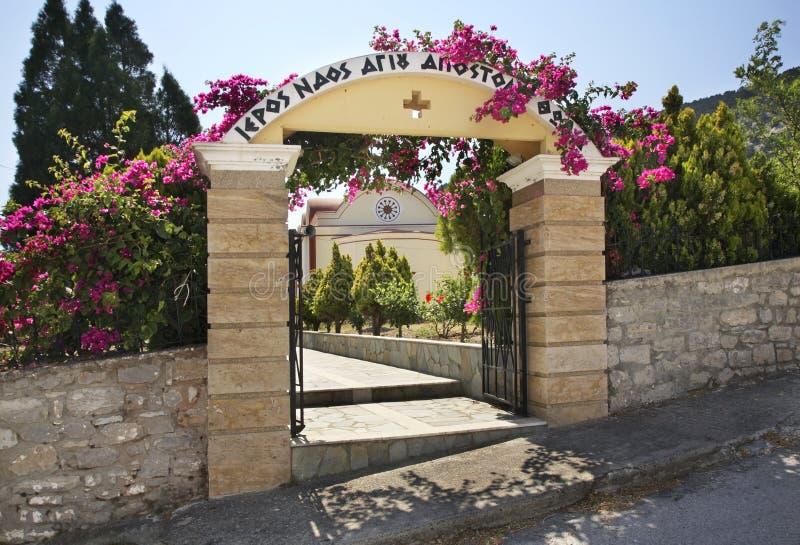 Igreja de St Thomas Apostle na vila de Monolithos Ilha do Rodes Greece foto de stock royalty free