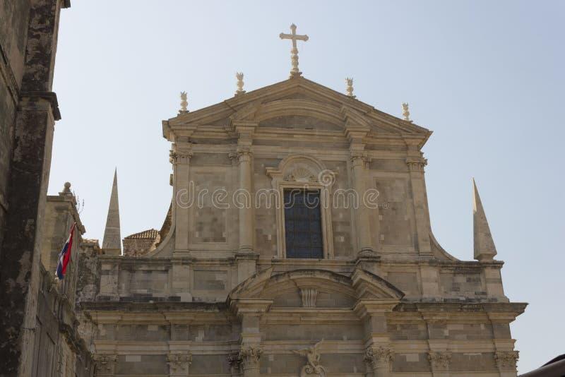 Igreja de StIgnatius em Dubrovnik, Croácia imagem de stock