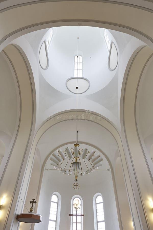 Igreja de Suomenlinna e interior da abóbada do farol Helsínquia, Finla imagens de stock royalty free