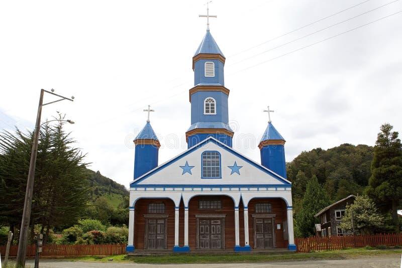Igreja de Tenaun, ilha de Chiloe, o Chile fotos de stock royalty free