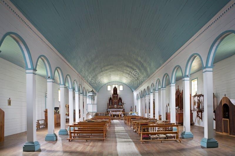 Igreja de Tenaun, ilha de Chiloe, o Chile fotografia de stock