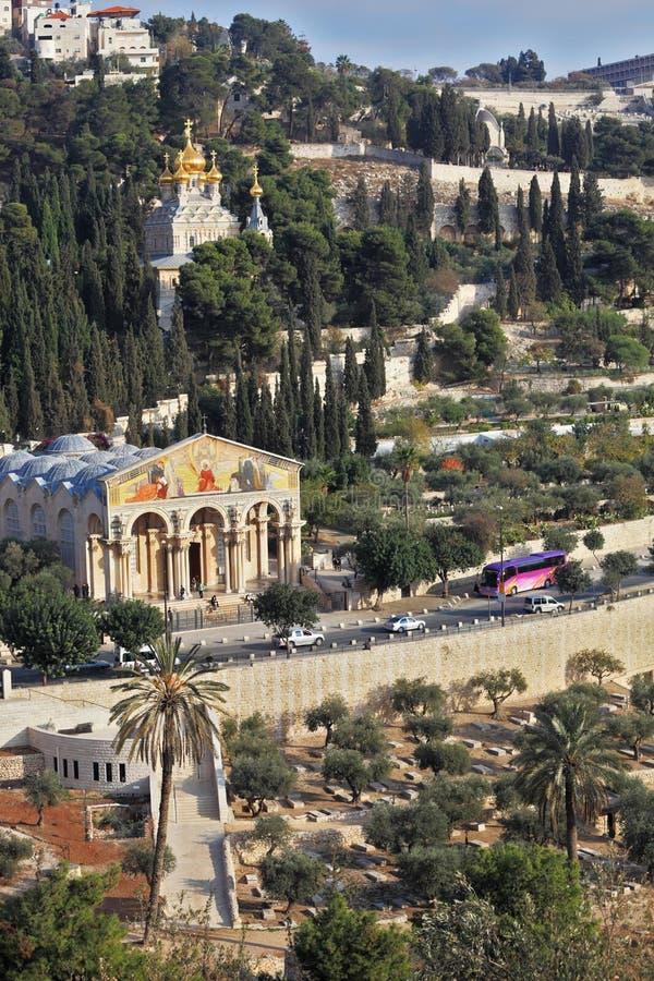 Igreja de todas as nações e a igreja de Mary Magdalene imagem de stock