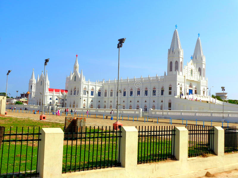 Igreja de Velankanni situada no Tamil Nadu imagem de stock