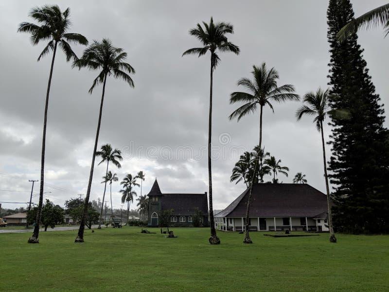 Igreja de Waioli Huiia e casa da missão imagens de stock royalty free