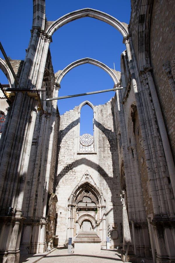 Igreja do Carmo Church Ruins in Lisbon. Lisbon, Portugal, ruins of the 14th-15th century Gothic church Igreja do Carmo, damaged by the earthquake in 1755 stock photos