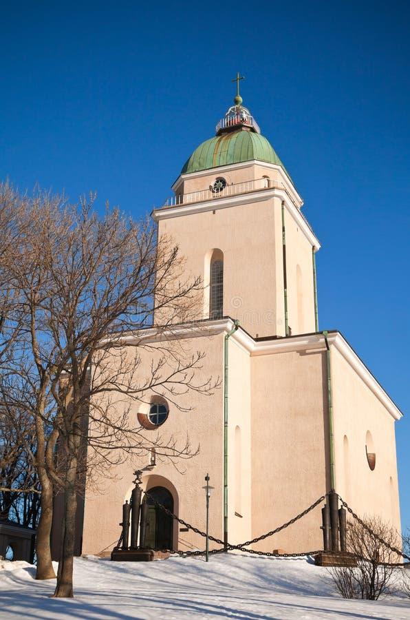 Igreja do console de Suomenlinna no inverno fotografia de stock