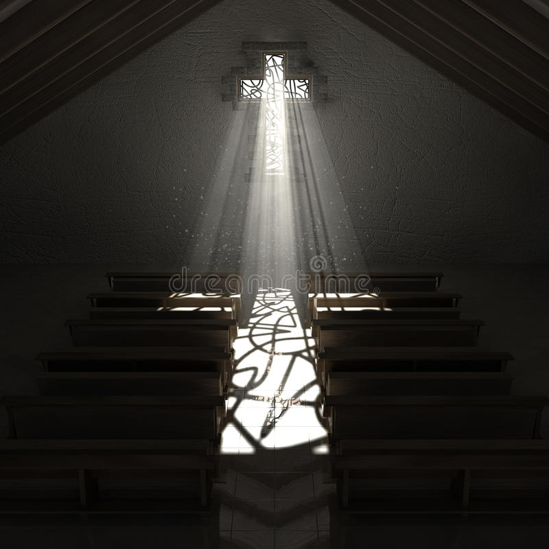 Igreja do crucifixo da janela de vitral ilustração do vetor