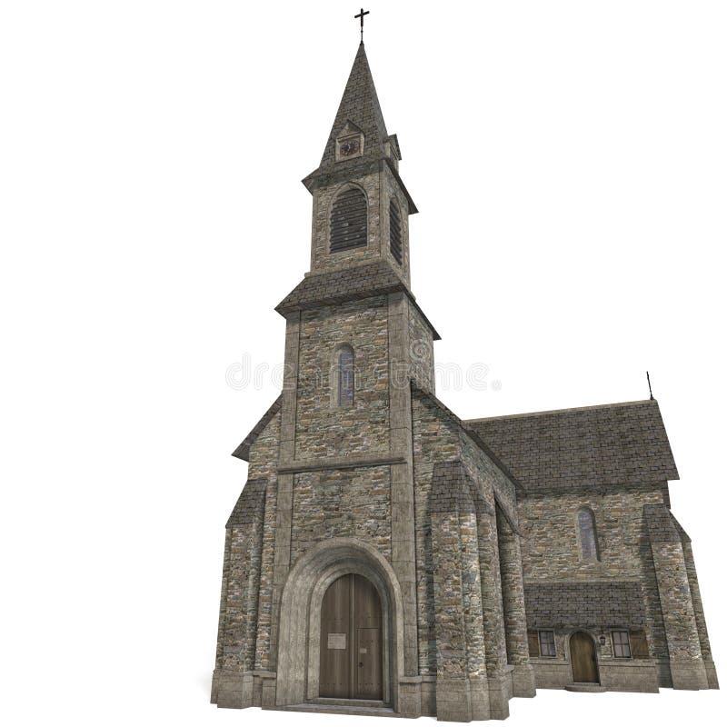 Igreja do edifício da cidade. rendição 3D com grampeamento ilustração do vetor